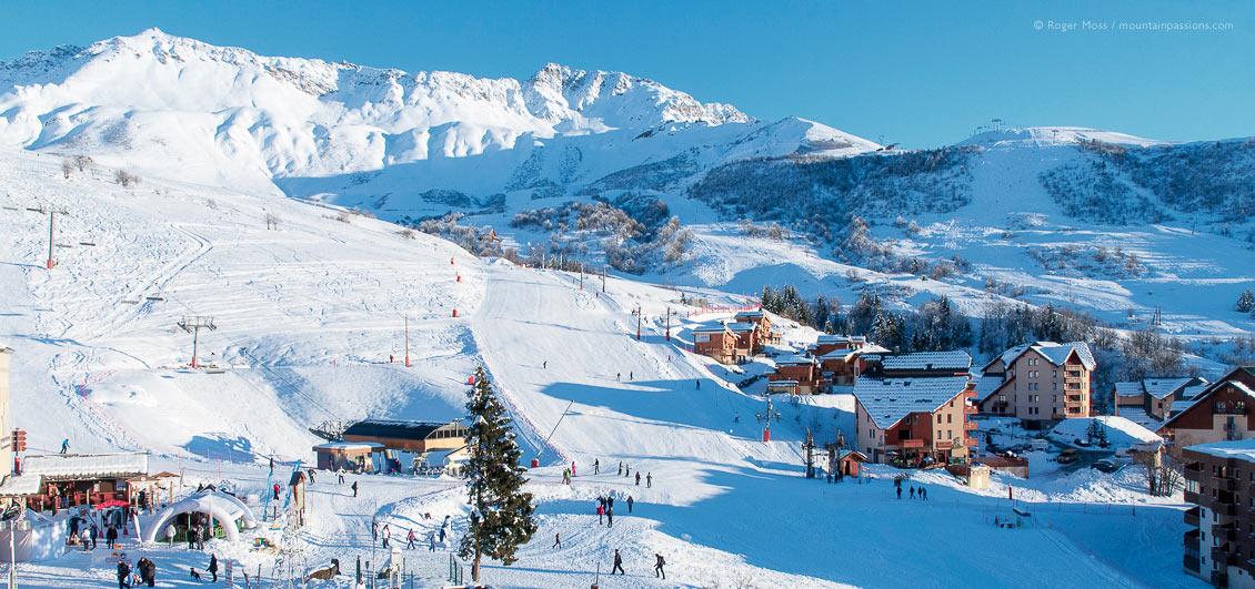 Ski village and mountains, Saint Francois Longchamp, French Alps