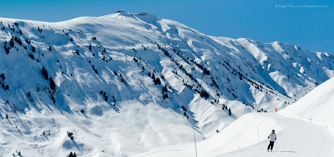 Skier on gentle piste above La Toussuire, Les Sybelles ski area, French Alps