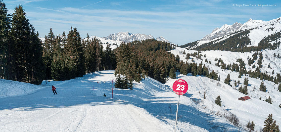 Rear view of skier on wide piste with forest and valley at Combloux, French Alps