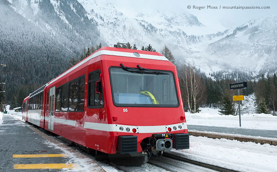 Mont-Blanc-Express train at the station in Argentiere, Chamonix Valley