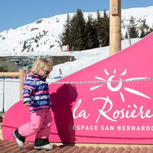 Toddler in ski gear, La Rosière, French Alps