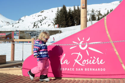 Toddler in ski gear, La Rosière, French Alps