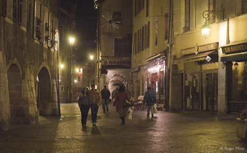 Night view of Annecy old town streets