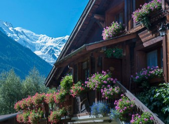 Chalet with flowers, mountain view, Chamonix