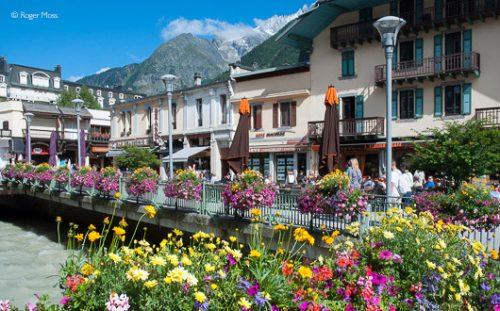Chamonix town centre, summer flowers.