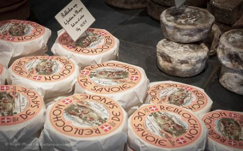 Reblochon cheese for sale in Morzine, French Alps