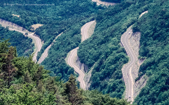 High overview of hairpin bends on wooded mountainside