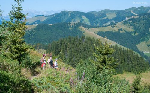 Walkers admire the view at Les Saisies