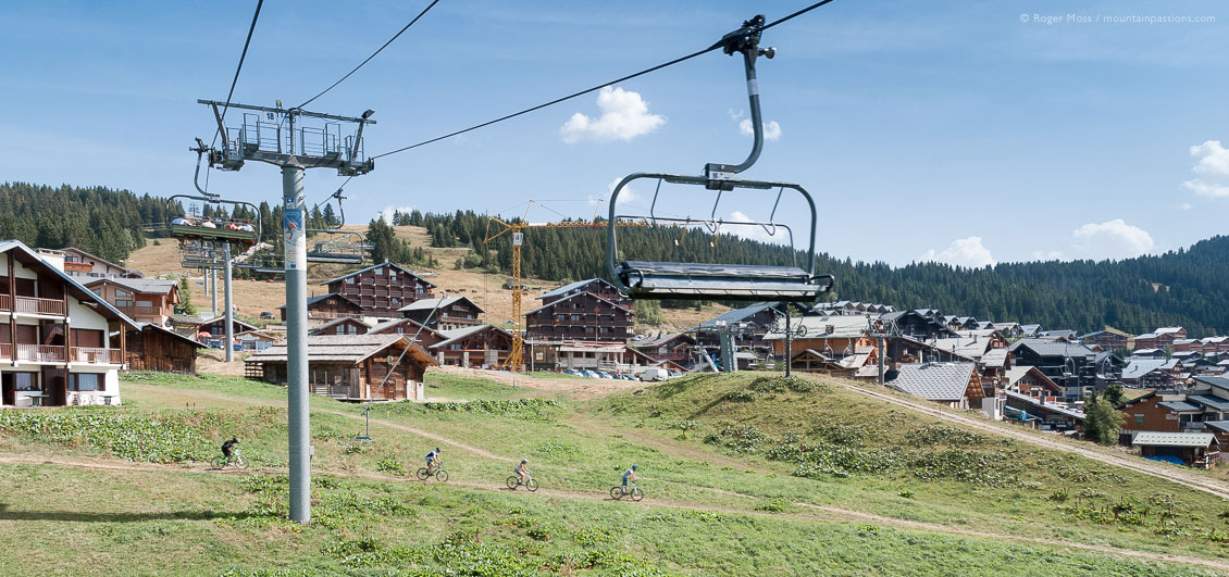View from chairlift of Les Saisies in summer with mountainbikers