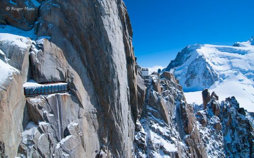 Rock faces conceal the galleries and visitor areas at the Aiguille du Midi, Chamonix