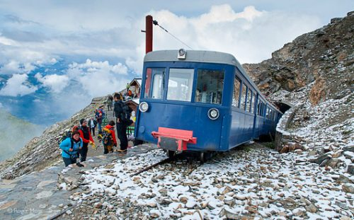 Passengers alight at the Nid d'Aigle, Tramway du Mont Blanc