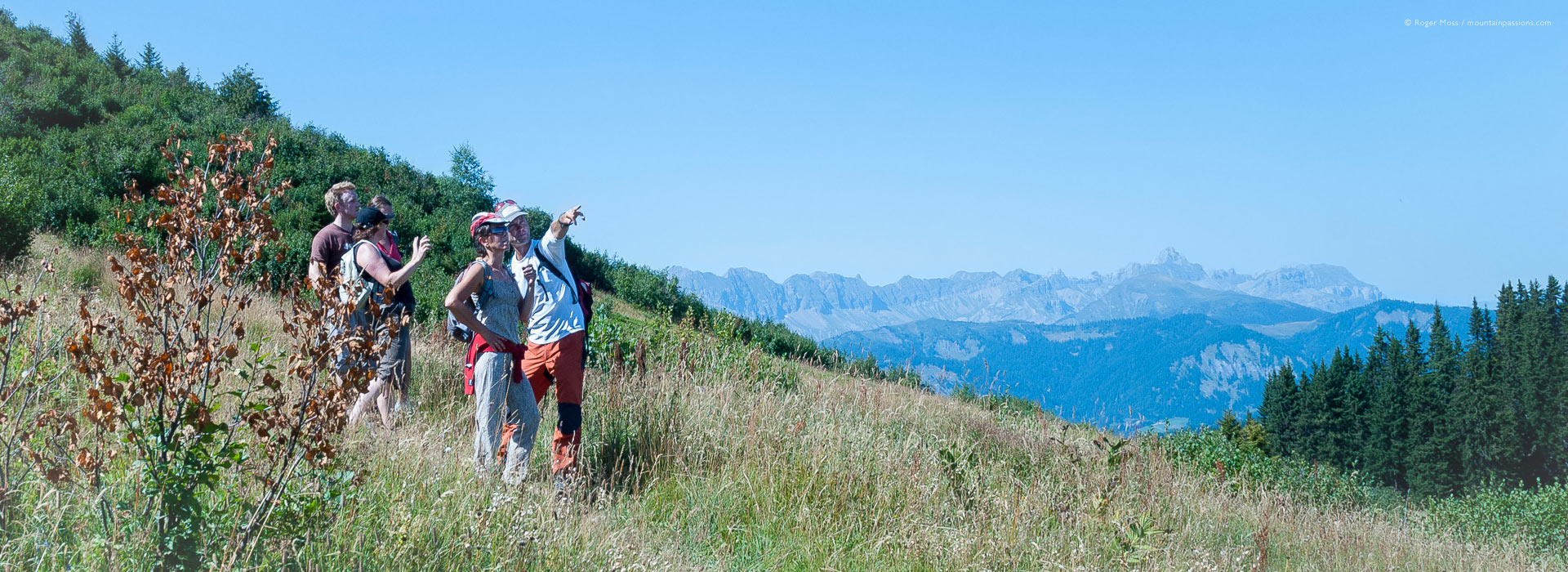 Group of walkers with tour guide Mark Tennent on mountainside in summer
