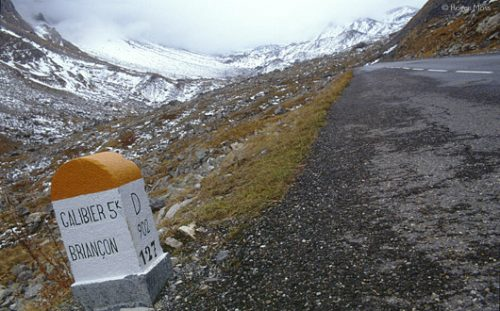 The route towards Galibier, where a narrow tunnel under the Col summit aids traffic caught out by unforeseen snow.