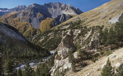 The early autumn frosts colour the scenery south of the Col d'Izoard.
