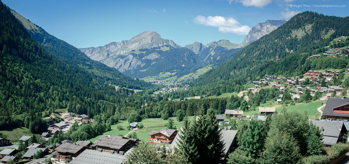 Overview of Chatel village and valley in summer, French Alps
