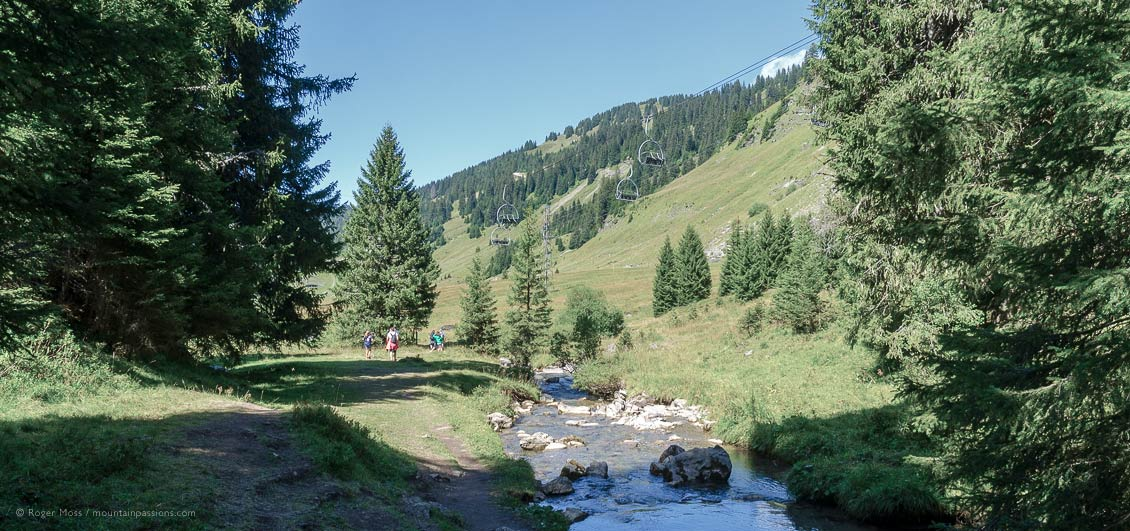 Wide view of walkers beside mountain stream in summer