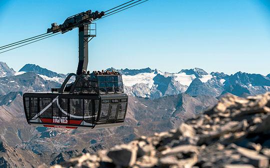 Panoramic cable car Tignes Glacier, French Alps