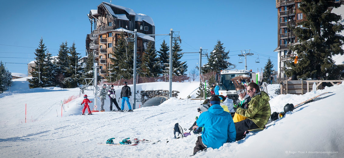 Young skiers pinicking beside piste in ski resort of Avoriaz, French Alps