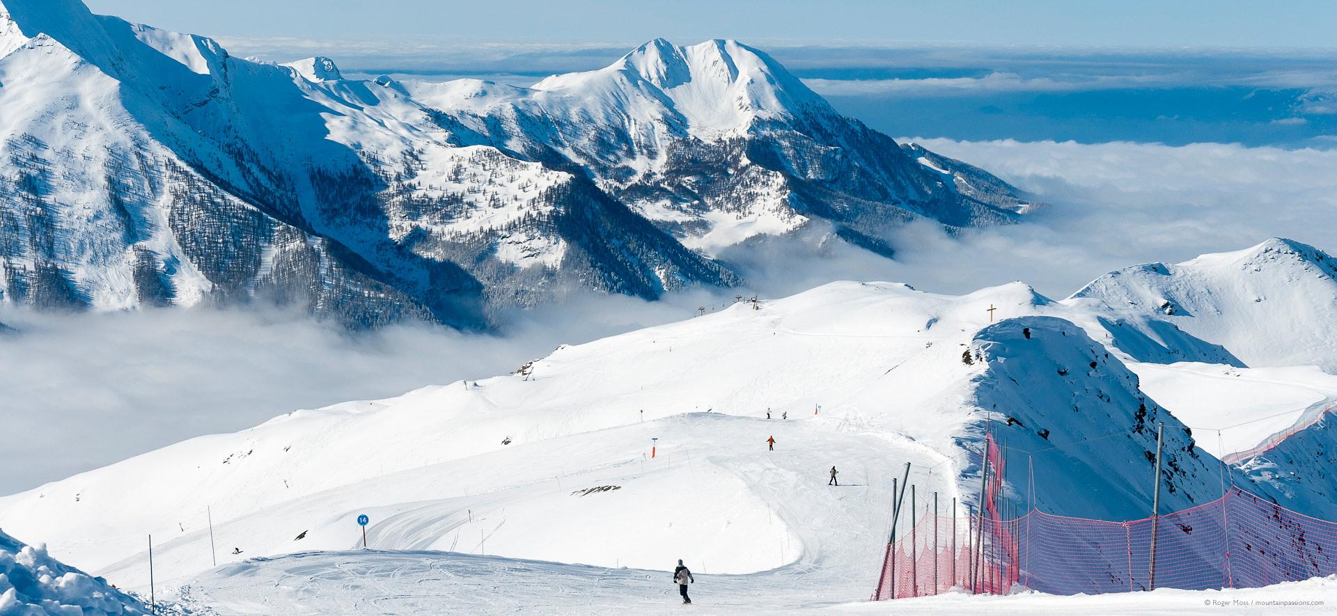 High view of ski terrain, showing mountain scenery