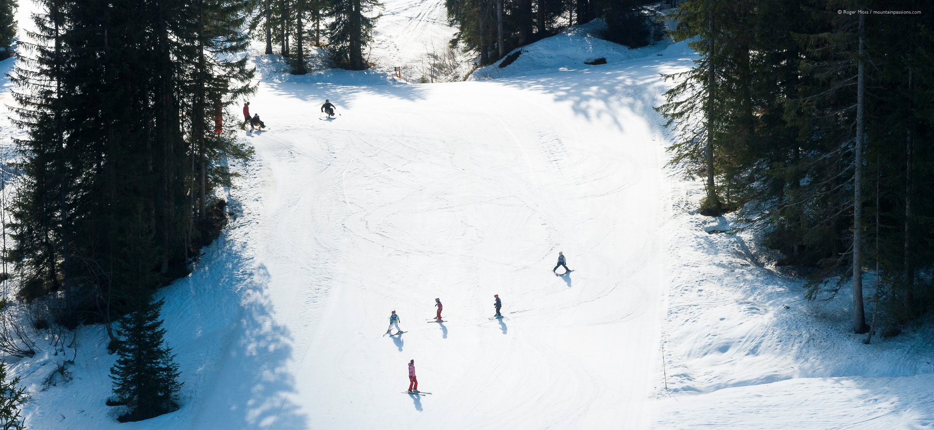 Bird's-eye view of ski intructors with children, plus disabled skiers.