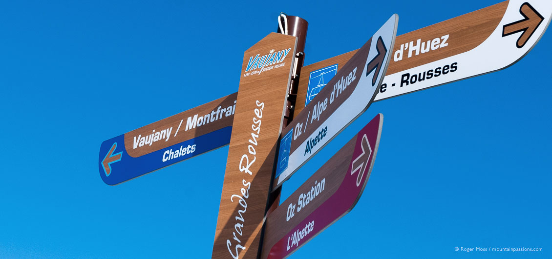 Skiers' view of ski piste sign at Vaujany