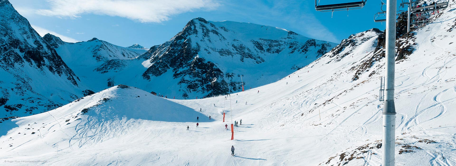 Overview from chair lift of ski terrain at Peyragudes
