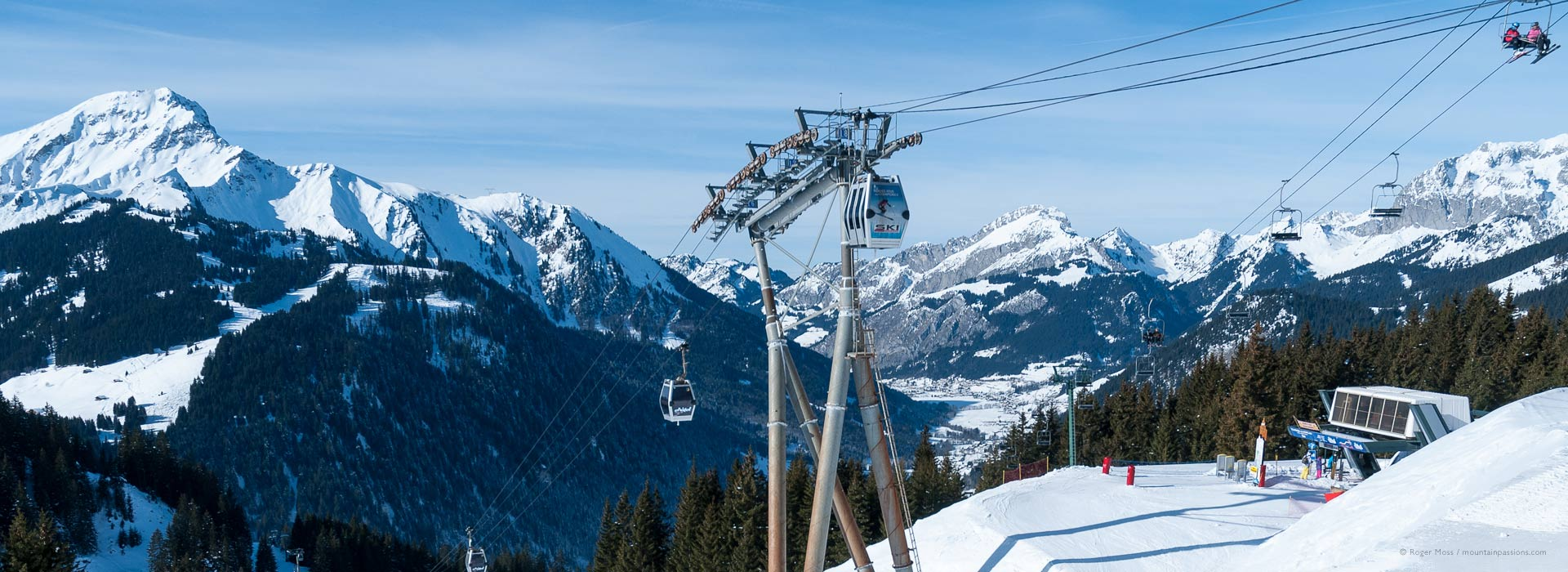 Gondola lift and ski area and valley at Chatel.