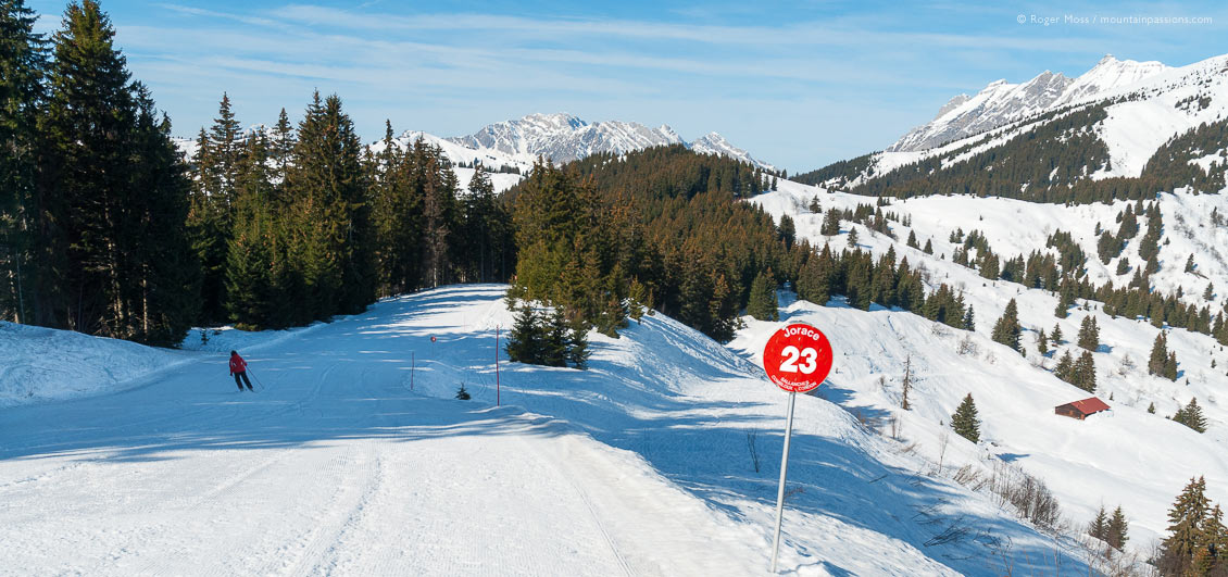 Wide view of skier on tree-lined piste at Combloux
