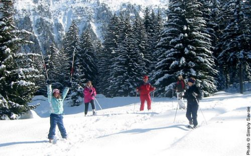 Family snow-shoeing, snow