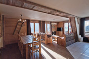 Typical interior of the chalet accommodation, Le Grenier, Vaujany.