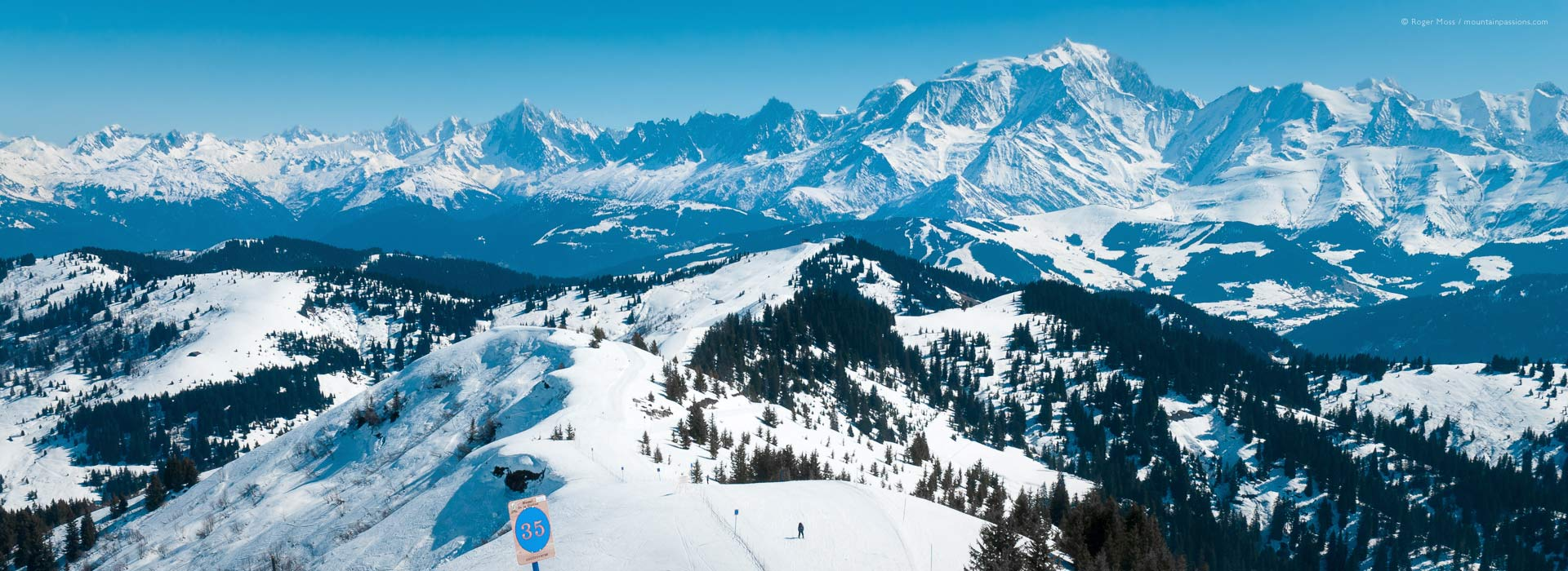 Wide overview towards Mont Blanc, from Combloux ski area