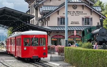 View of tramway at Mer de Glace gare, Chamonix