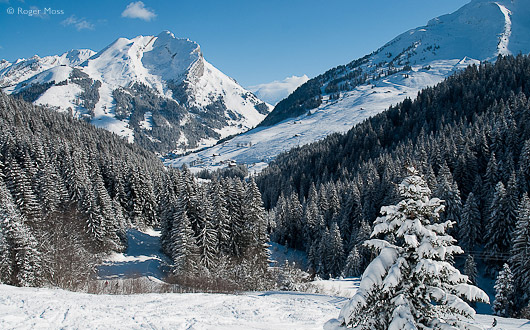 A fresh dusting of overnight snow extends all the way to the valley floor from the distant summits of the Etale Massif  and its neighbour L'Aiguille.