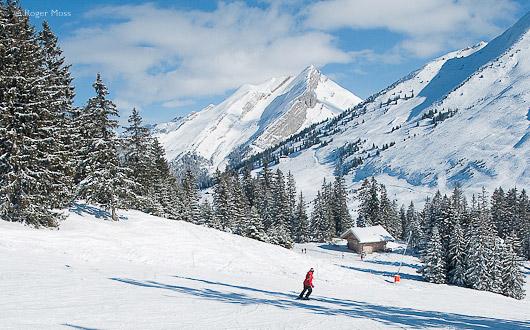 Skier above Merdassier, La Clusaz