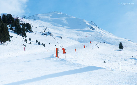 A view of the topmost ski pistes at La Norma.