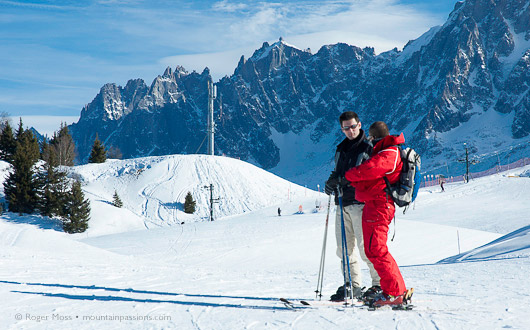 Ski Instructor teaching adult, Les Houches