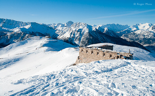 The remains of a high-altitude Ligne Maginot border fort look even more melancholy amid a snowy landscape.