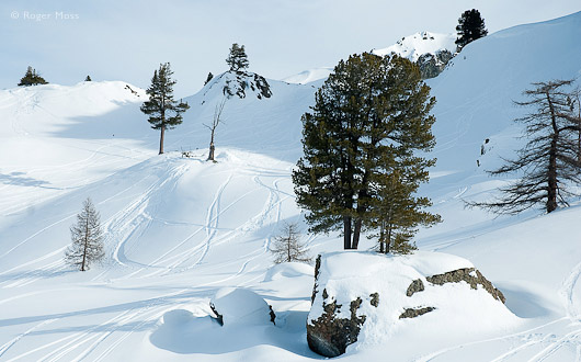 The first few tracks appear on the irresistible fresh snow below the Rocher de l'Aigle, gateway to the Monts de la Lune.