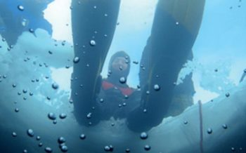 Diving under ice, Tignes, French Alps