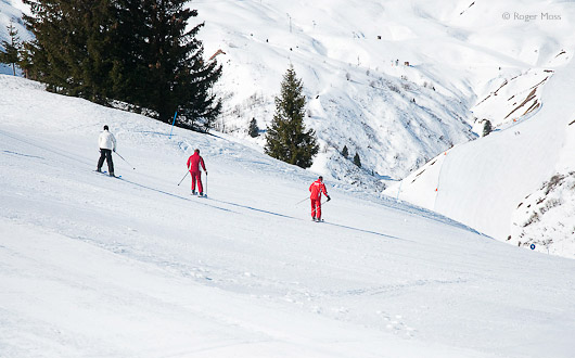 Skiers at Les Contamines