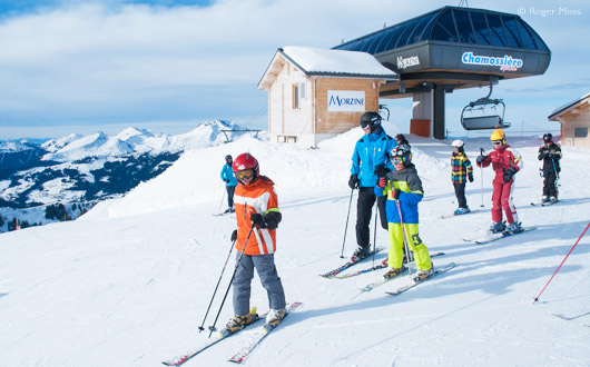 Skiing off the Chamossière chairlift at 2002m – highest lift-served point of Morzine's own groomed terrain.