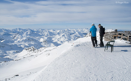 Above the vastness of the legendary Trois-Vallées at Cime Caron, Val Thorens.