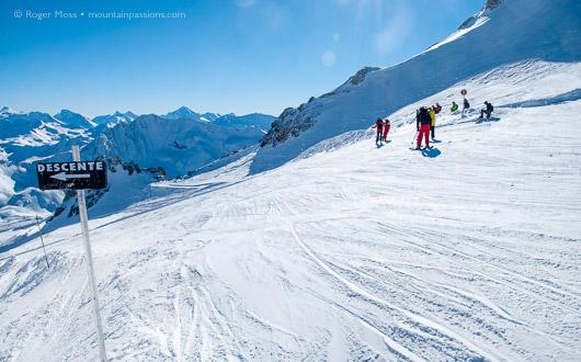 Skiing on Grand Motte glacier, Tignes