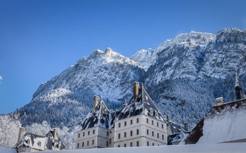 Monastery of the Grande Chartreuse, rooftops against the mountainsides of the Massif de la Chartreuse.