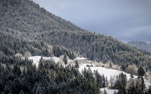 Distant view of the Auberge de Sarcenas in a mountainside forest clearing.
