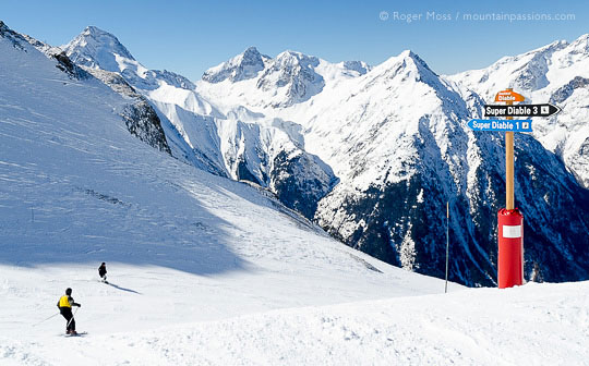 Skiers on steep piste, passing signage at Les 2 Alpes