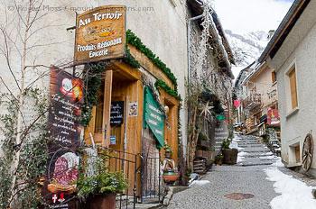 View of narrow street in heart of Venosc mountain village
