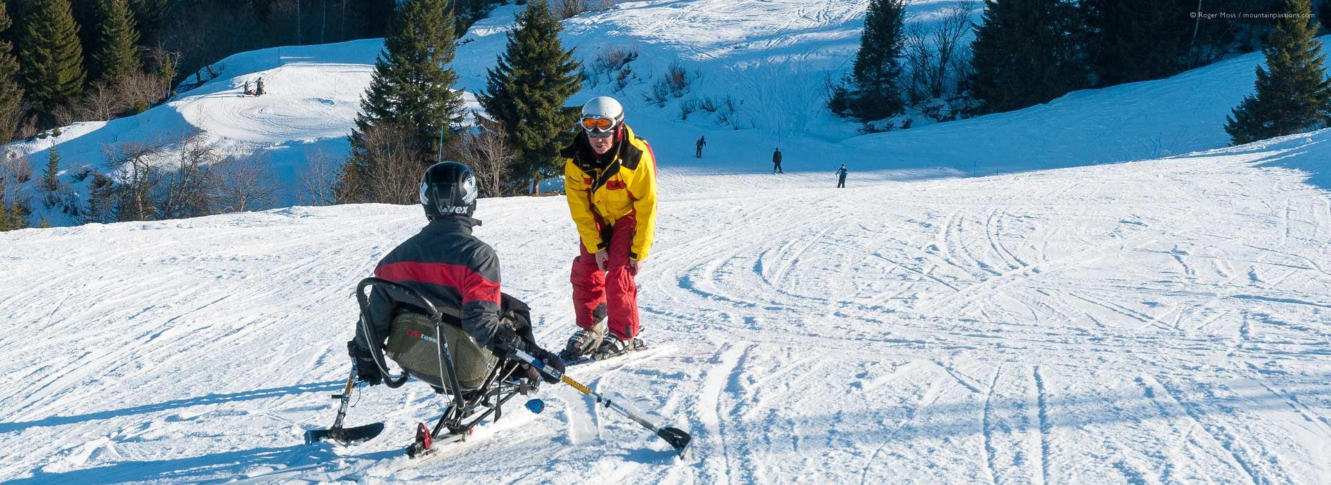 Disability skiing instruction on piste at Les Gets
