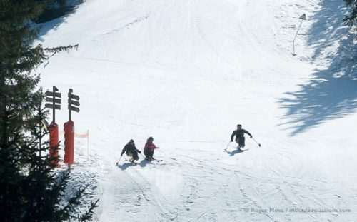 Skiing with a disability, sit-skis at Combloux, French Alps