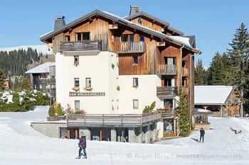 Exterior view of Les Soldanelles ski apartments at Praz de Lys, French Alps.